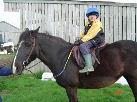 Horse riding in 2004 or 2005, aged 10