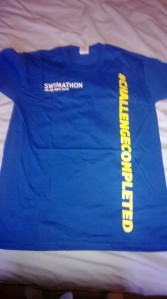 Swimathon t-shirt received for raising over £100 in 2013