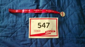 Race for Life 2013 medal and entry number