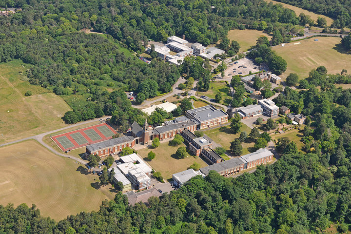 Bird's eye view of Royal Russell School.  The swimming pool was just off to the left of the shot.