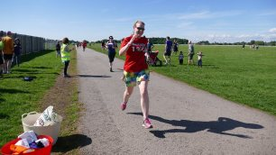 flying feet finishing parkrun in Summer 2017
