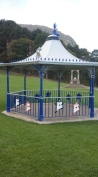 A bandstand? with the playing cards on the side